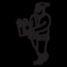 Santa handing present stroke
