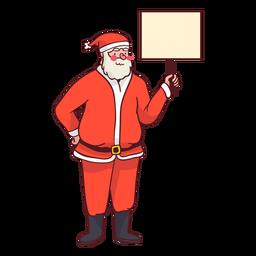 Papai Noel segurando uma placa de sinalização