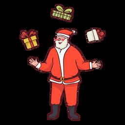 Santa haciendo malabares con regalos