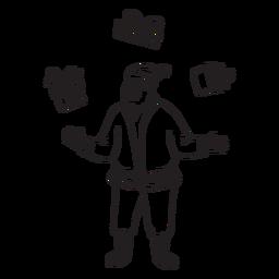 Papai Noel fazendo malabarismos com presentes
