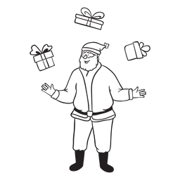 Santa juggling with gifts stroke