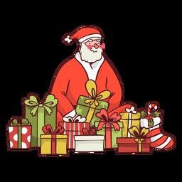 Santa rodeado de regalos