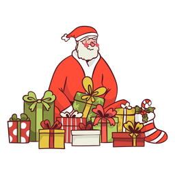 Santa surrounded with gifts