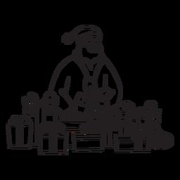Santa rodeado de regalos trazo