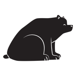 Simple bear sitting silhouette