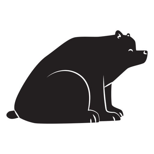 Simple bear sitting silhouette Transparent PNG
