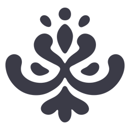 Ornamento floral simple silueta negro