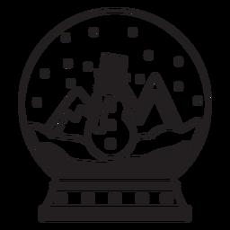 Escena de muñeco de nieve trazo de globo de nieve