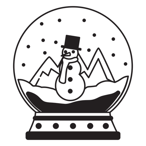 Muñeco de nieve escena nieve globo trazo Transparent PNG