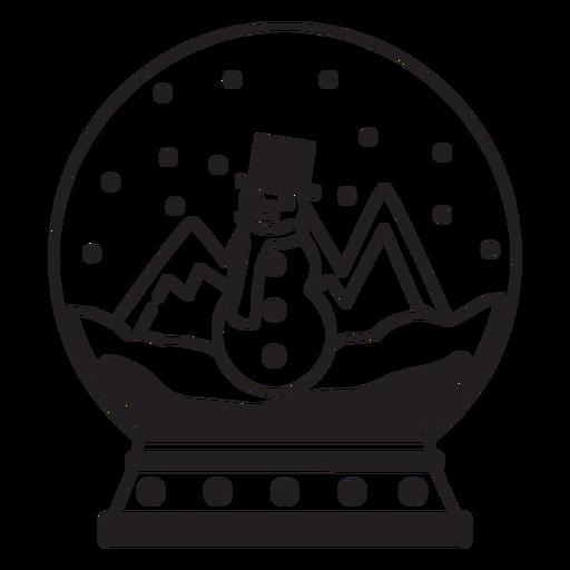 Snowman scene snow globe stroke