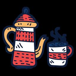 Tea pot and cup cartoon