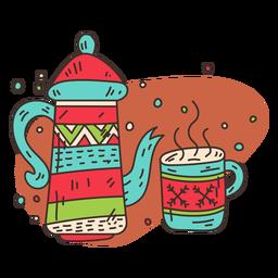Tea set cartoon
