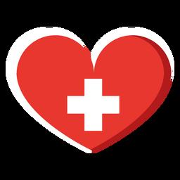 Icono de corazón de cruz blanca