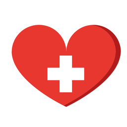White cross heart icon