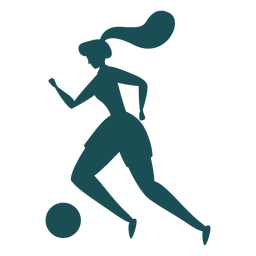 Woman football player dribbling silhouette
