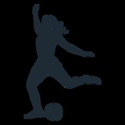 Silhueta de tiro de jogador de futebol de mulher