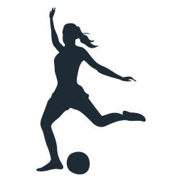 Woman football player shooting silhouette