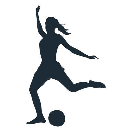 Woman football player shooting silhouette Transparent PNG