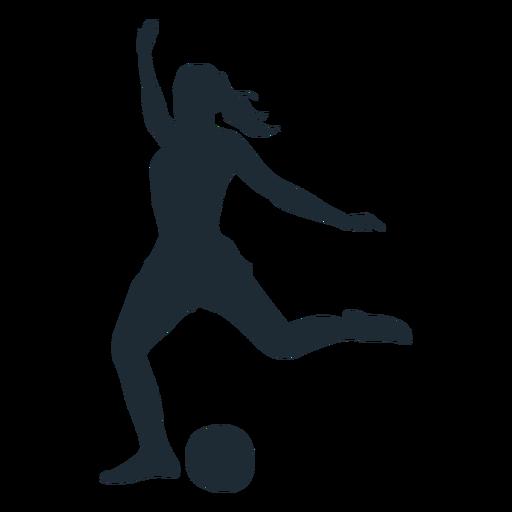 Woman football player shooting silhouette