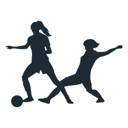 Woman football player tackle silhouette