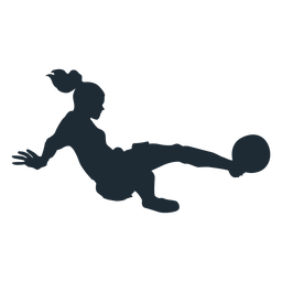 Woman football player tackling silhouette