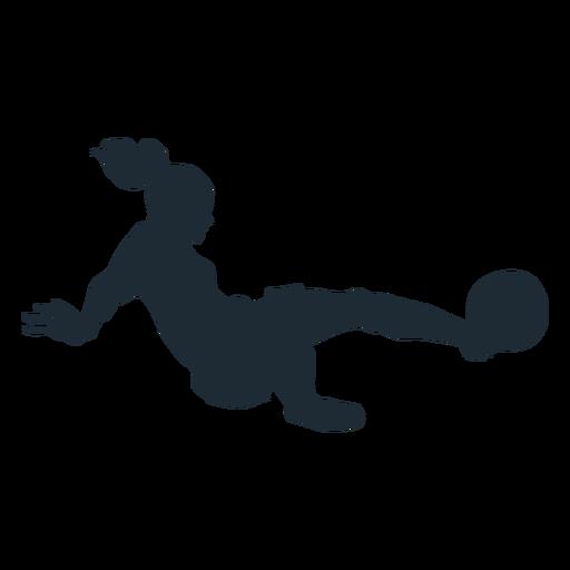 Mujer futbolista abordando silueta Transparent PNG