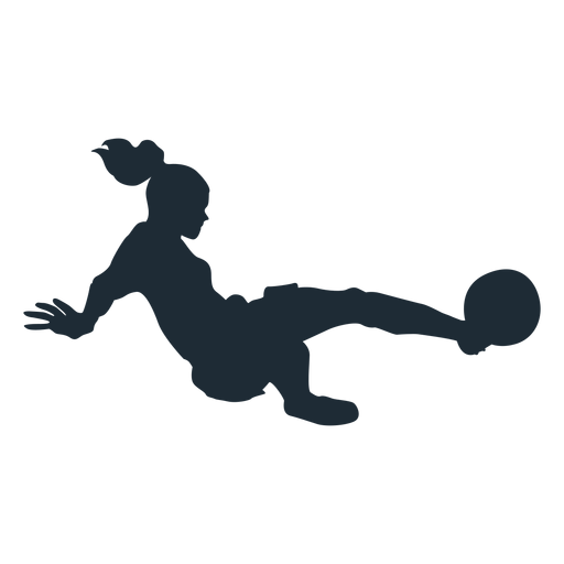Woman soccer player tackling silhouette