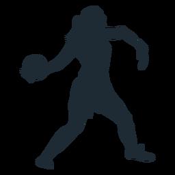 Portero de mujer arrojando silueta de bola
