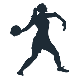 Woman goalkeeper throwing ball silhouette
