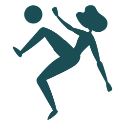 Woman player scissor kick silhouette