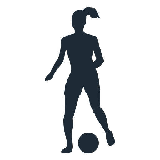 Woman running with ball silhouette Transparent PNG