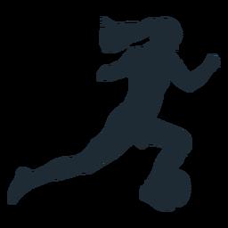 Mujer corriendo con silueta de bola