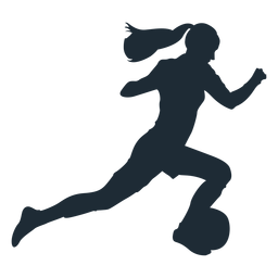Woman sprinting with ball silhouette