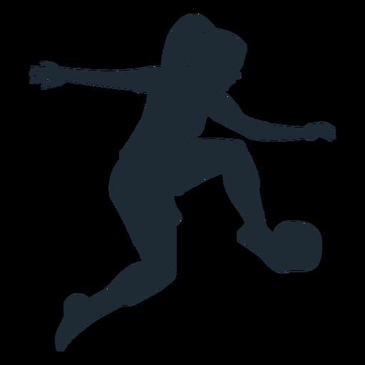 Silueta de mujer parada bola alta
