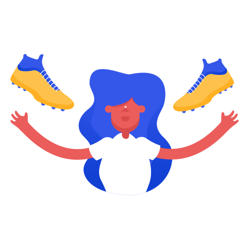 Mujer arrojando zapatos de fútbol Transparent PNG
