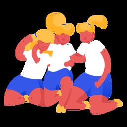 Women football team celebrating