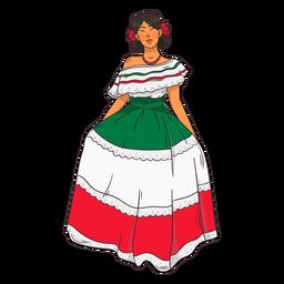 Dibujos animados de personajes de mujer joven mexicana