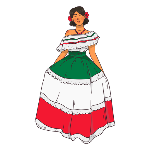 Young mexican woman character cartoon