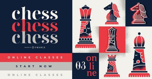 Design da capa para aulas de xadrez online, com texto editável.