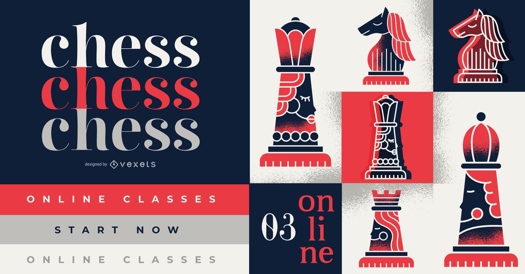 Design da capa para aulas de xadrez online com texto editável.