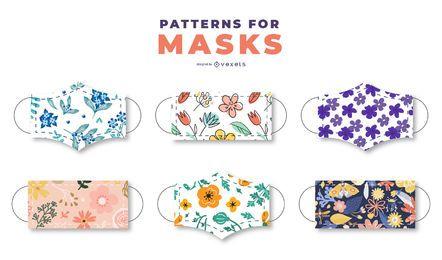 Pacote de padrões florais de máscara facial