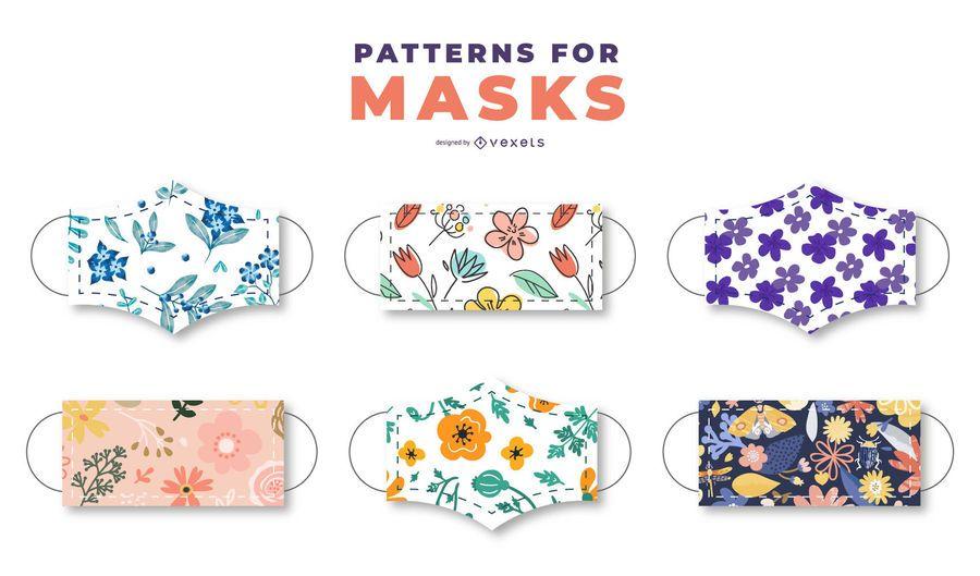 Paquete de patrones florales de mascarilla