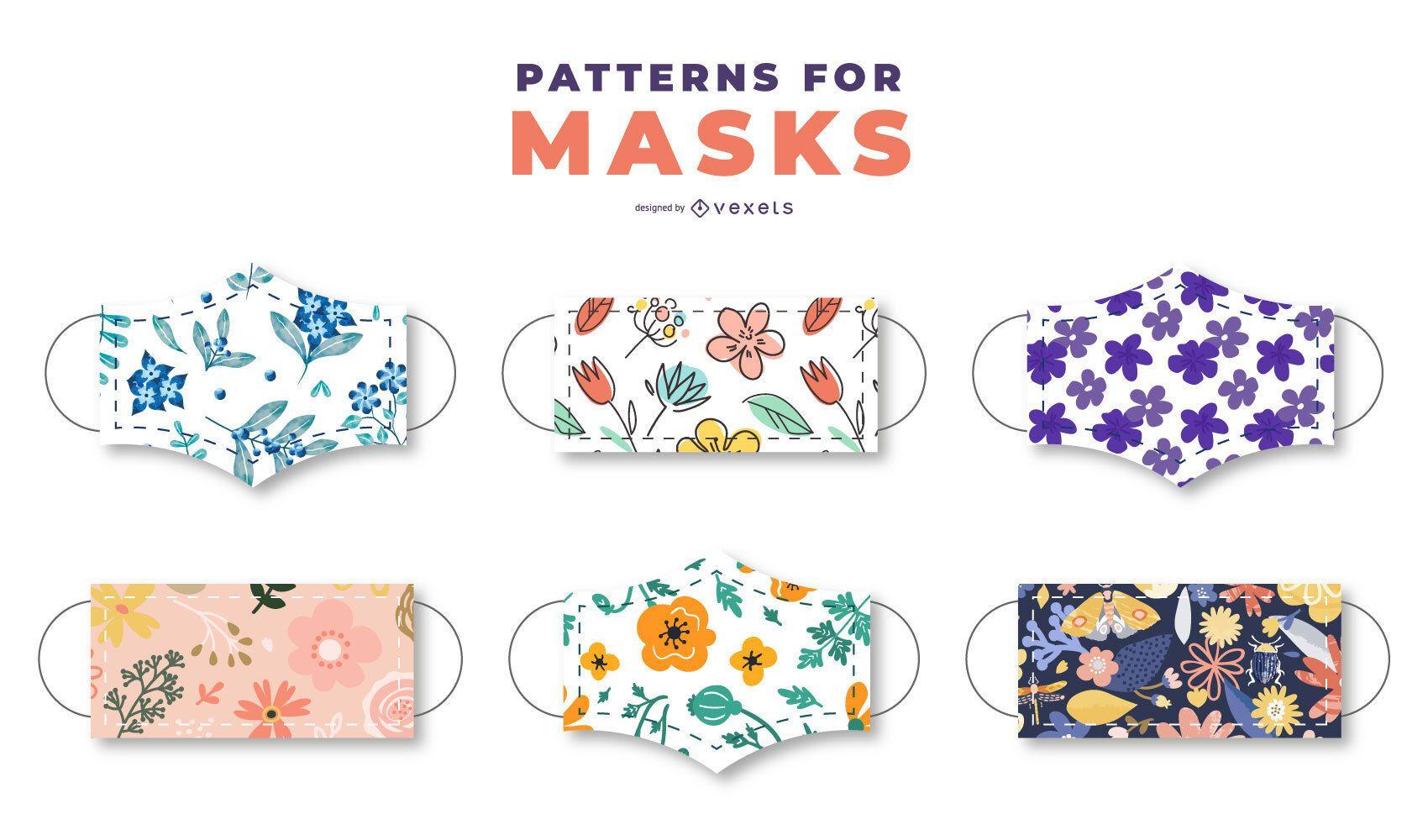Pacote de padrão floral de máscara facial