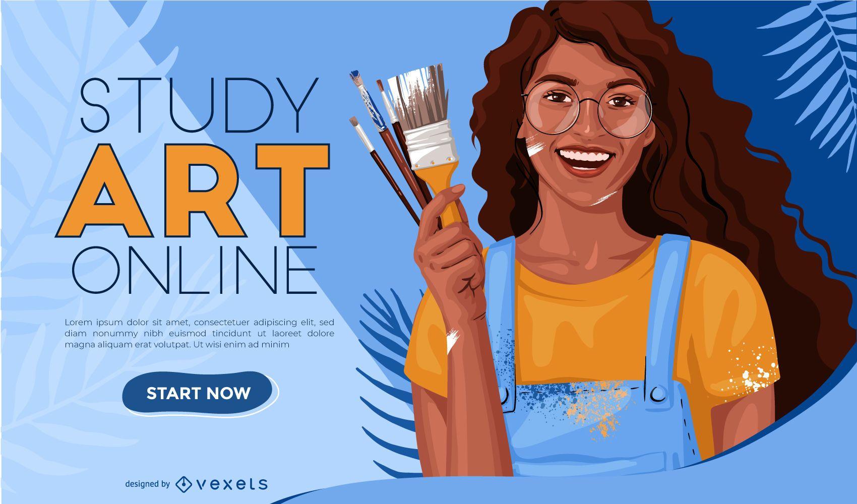 Diseño de control deslizante web de estudio de arte en línea
