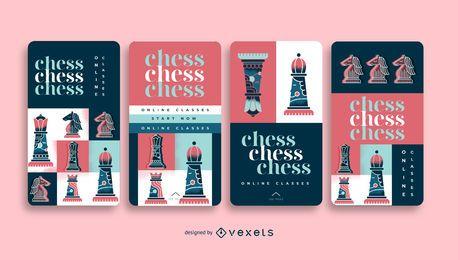 Pacote de histórias de mídia social para cursos de xadrez