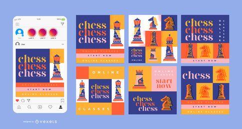 Pacote de design de banner quadrado para aulas de xadrez