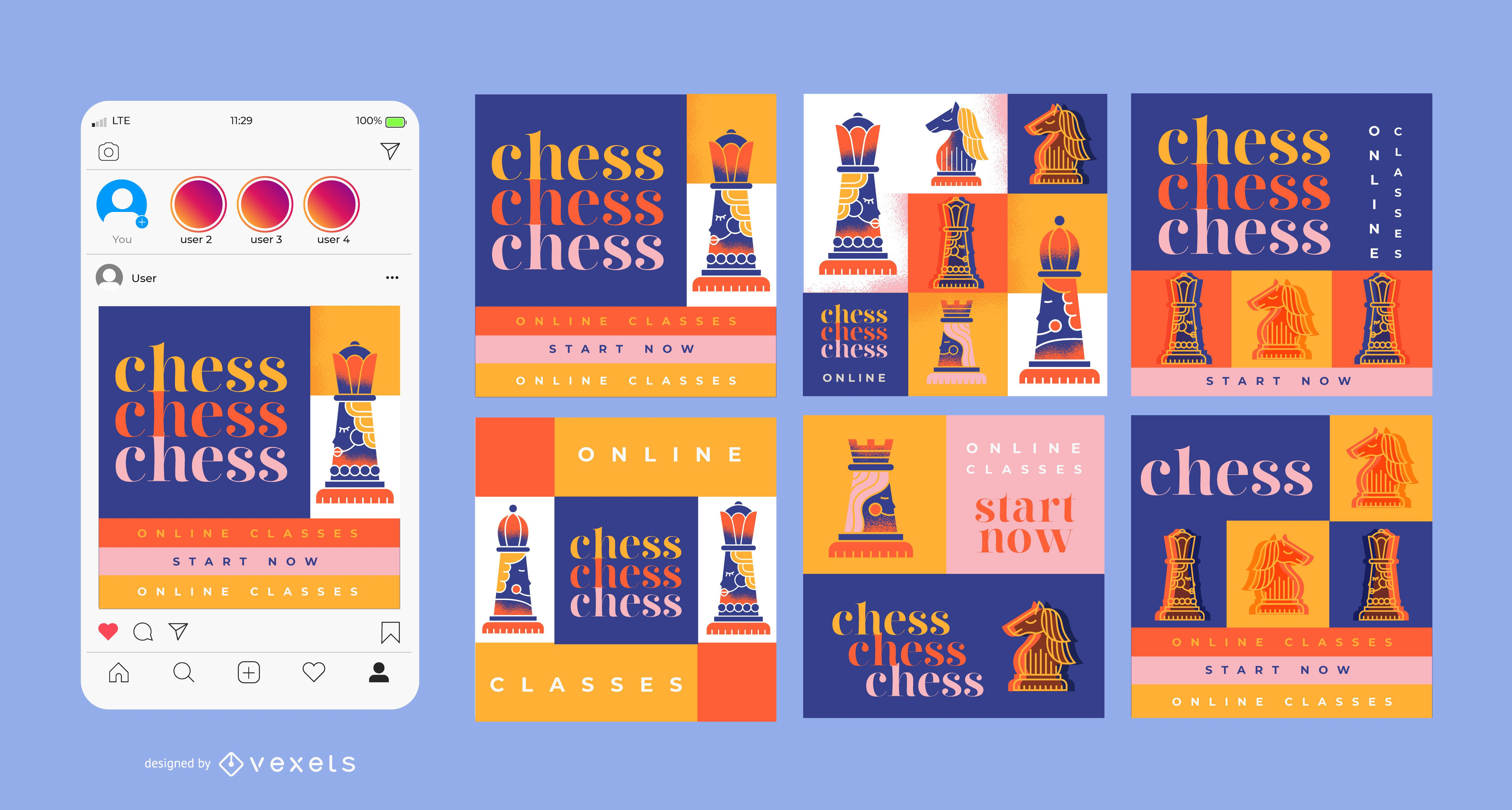 Chess Classes Square Banner Design Pack