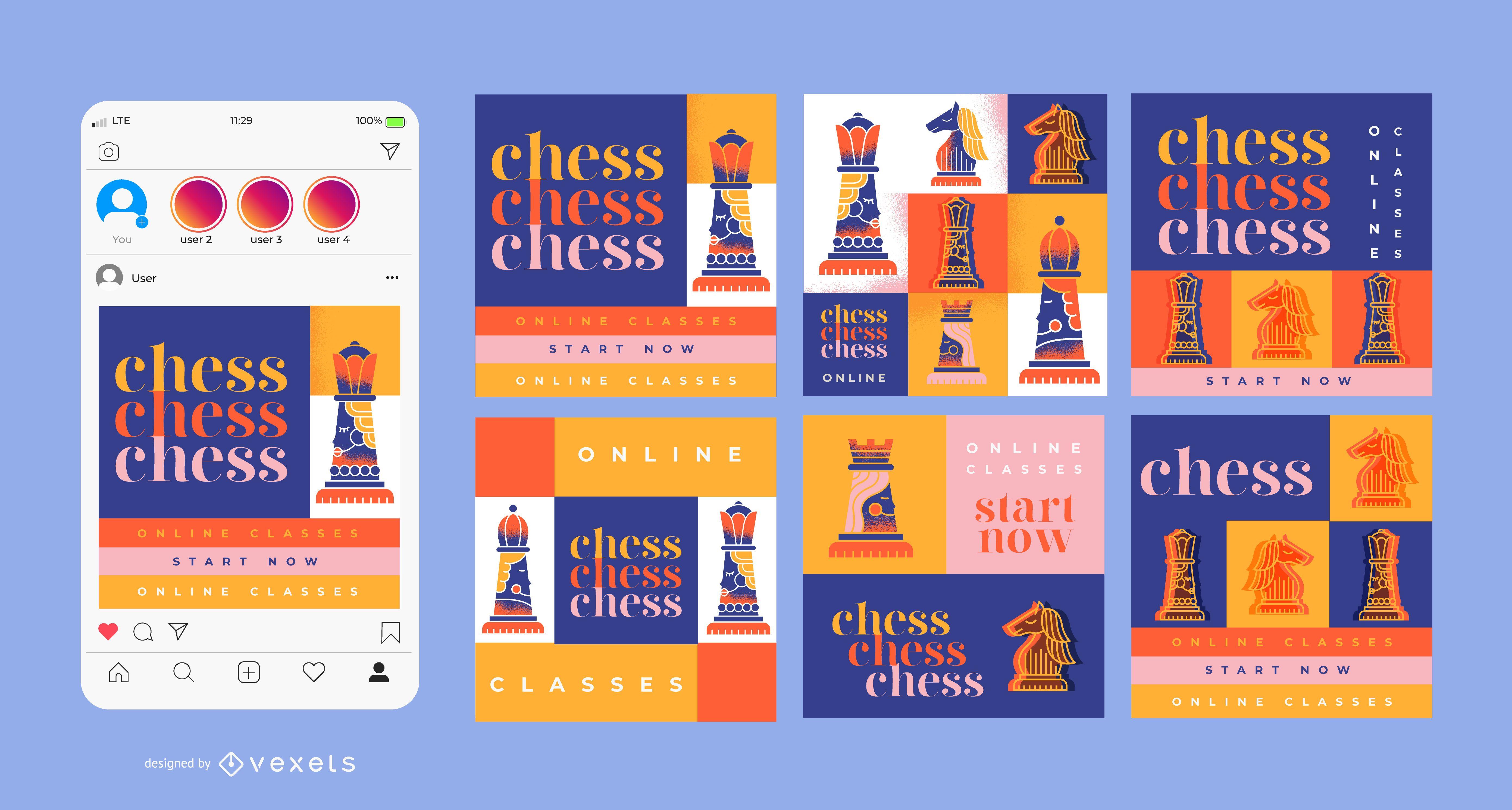 Paquete de diseño de banner cuadrado de clases de ajedrez