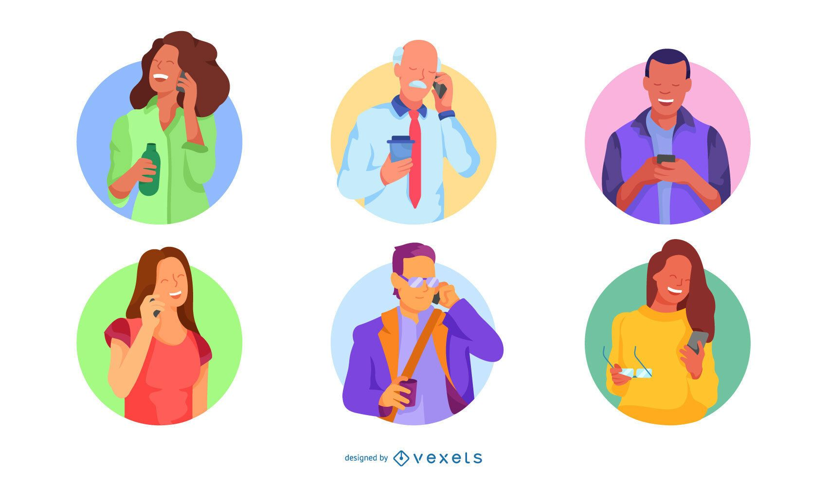 Paquete de personajes planos de llamadas telefónicas