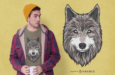 Design de camiseta de cabeça de lobo